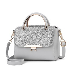 Shoespie Sequins Plain PU Flap Tote Bags
