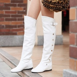 Bead Hidden Elevator Heel Knee High Boots