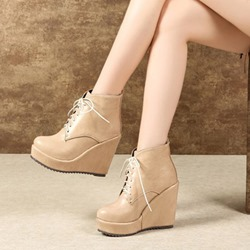 Shoespie Platform Wedge Heel Lace-Up Ankle Boots
