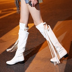 Casual Fringe Block Heel Knee High Boots