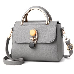 Shoespie PU Lock Plain Flap Tote Bags