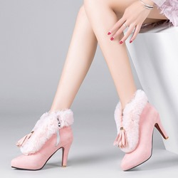 Shoespie Suede Fluffy Stiletto Heel Ankle Boots