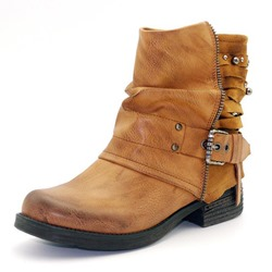 Shoespie Retro Buckle Block Heel Ankle Boots
