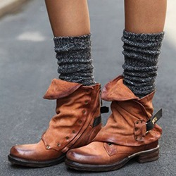 Retro Buckle Side Zipper Brush Off Ankle Boots