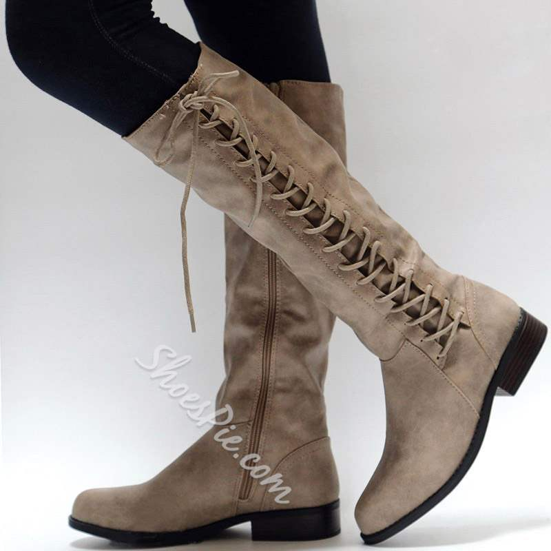 Shoespie Cross Strap Block Heel Knee High Boots