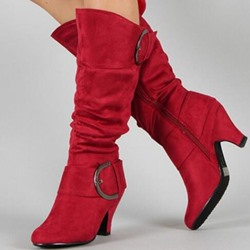Shoespie Suede Chunky Heel Buckle Mid-Calf Boots