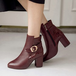 Shoespie Casual PU Chunky Heel Buckle Ankle Boots