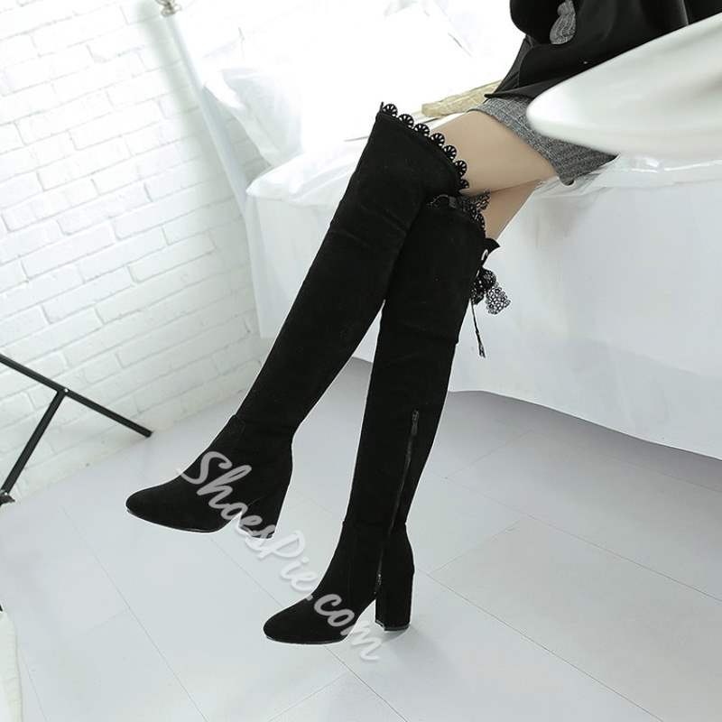 Shoespie Suede Back Lace-Up Thigh High Boots