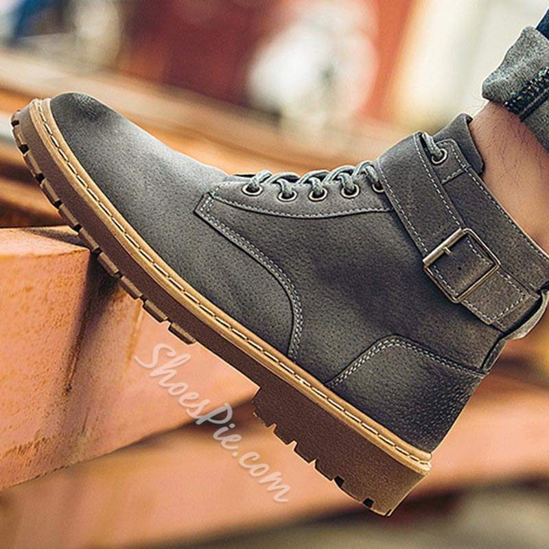Shoespie Brush-Off Ankle Buckle Men's Martin Boots