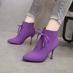 Shoespie Bow Side Zipper Stiletto Heel Ankle Boots