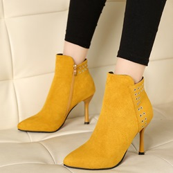 Shoespie Plain Side Zipper Stiletto Heel Ankle Boots