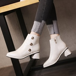Shoespie Casual PU Rivet Chunky Heel Ankle Boots