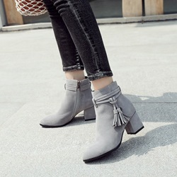 Shoespie Casual Tassel Chunky Heel Side Zipper Ankle Boots