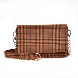 Shoespie Plaid PU Chain Rectangle Crossbody Bags