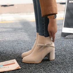 Shoespie Casual Suede Bowknot High Heel Ankle Boots