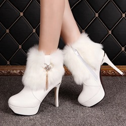 Shoespie Fluffy Rhinestone Platform Stiletto Heel Snow Boots