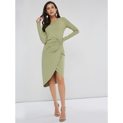 Round Neck Long Sleeve Pleated Women's Bodycon Dress
