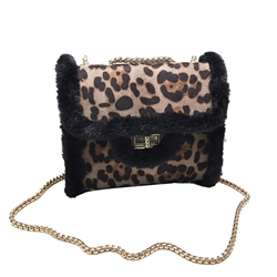 Shoespie Thread Leopard PU Flap Crossbody Bags