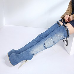 ShoespiePlatform Denim Stiletto Heel Thigh High Boots