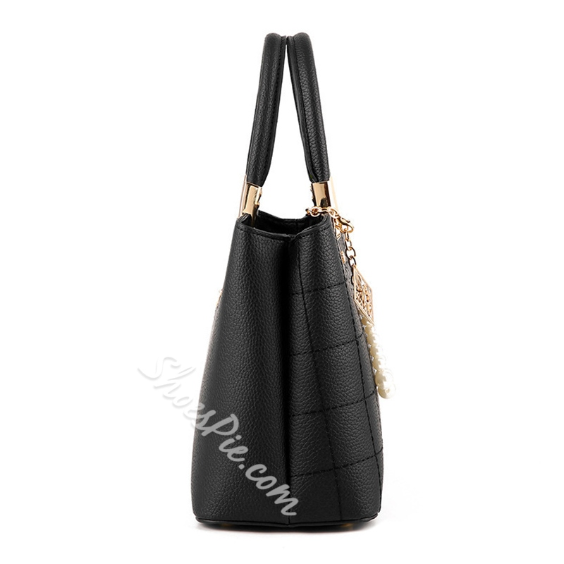 Shoespie PU Embossing Plain Square Tote Bags