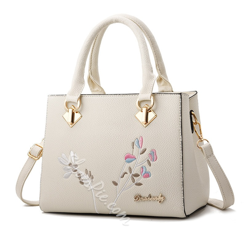 Shoespie Floral Embroidery PU Square Tote Bags