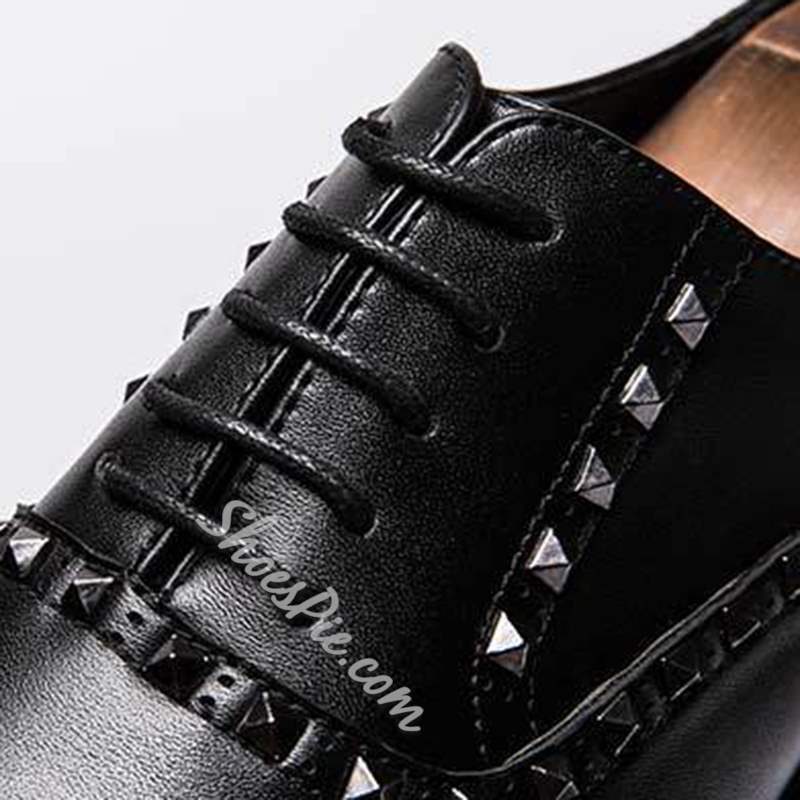 Shoespie Casual Black PU Rivet Lace-Up Men's Oxfords