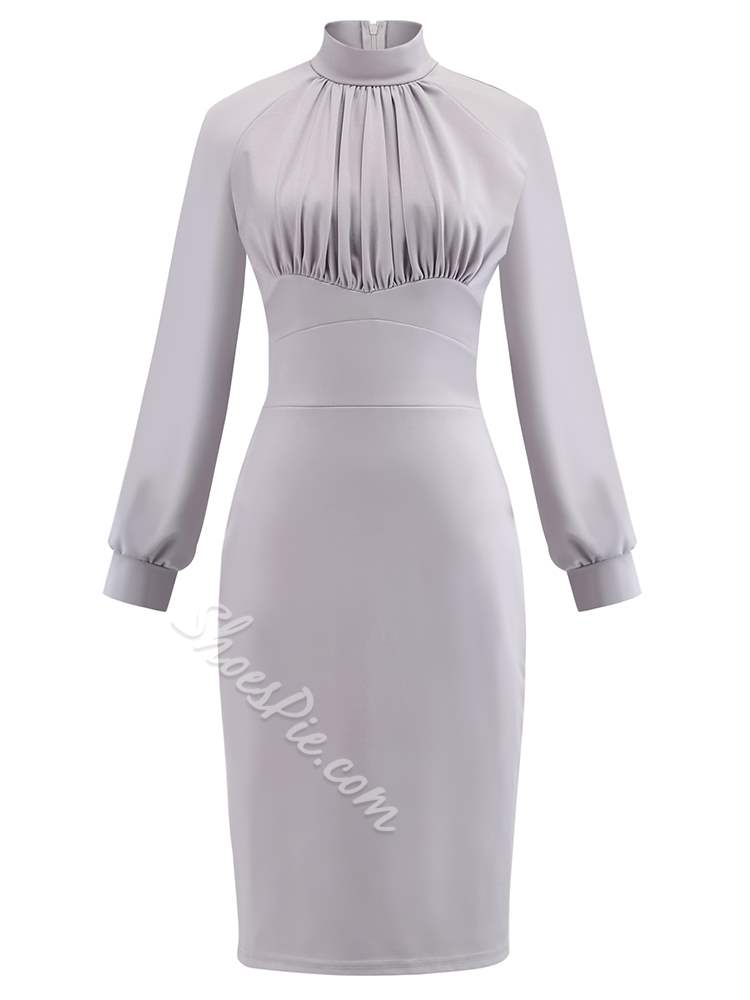 Polyester Pleated Vintage Women's Bodycon Dress