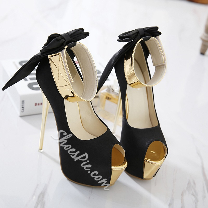 Shoespie Black Peep Toe Bow Platform Stiletto Heels