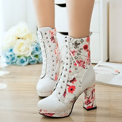 Shoespie Floral Platform Lace-Up High Heel Ankle Boots