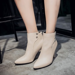 Shoespie PU Stiletto Heel Back Zip Ankle Boots