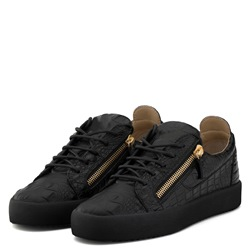 Shoespie Casual Black PU Zipper Men's Sneakers