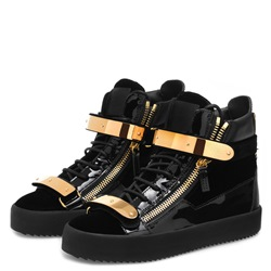 Shoespie Black Sequin High Upper Zipper Men's Sneakers
