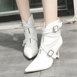 ShoespieCasual Slip-On Buckle Stiletto Heel Ankle Boots