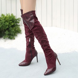 Shoespie Patchwork Side Zipper Stiletto Heel Thigh High Boots