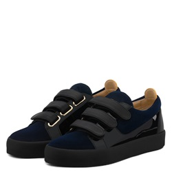 Shoespie Blue Suede Velcro Patchwork Men's Sneakers