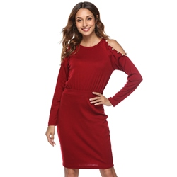 Off-The-Shoulder Pullover Bead Women's Bodycon Dress