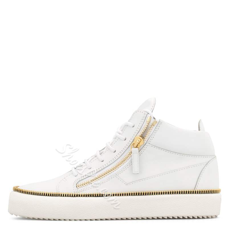 Shoespie White High-Cut Lace-Up Men's Sneakers