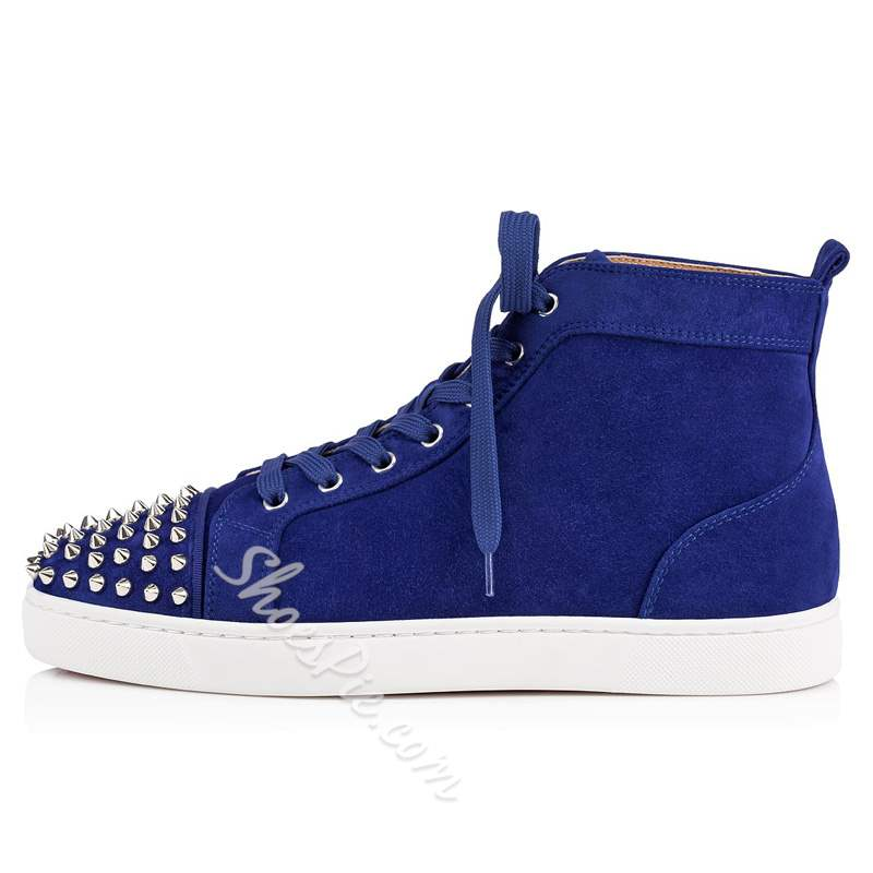 Shoespie Blue Suede Rivet High-Cut Men's Sneakers