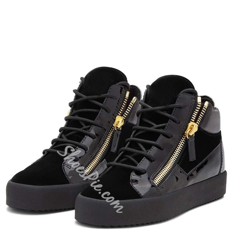 Shoespie Black High-Cut Zipper Men's Sneakers