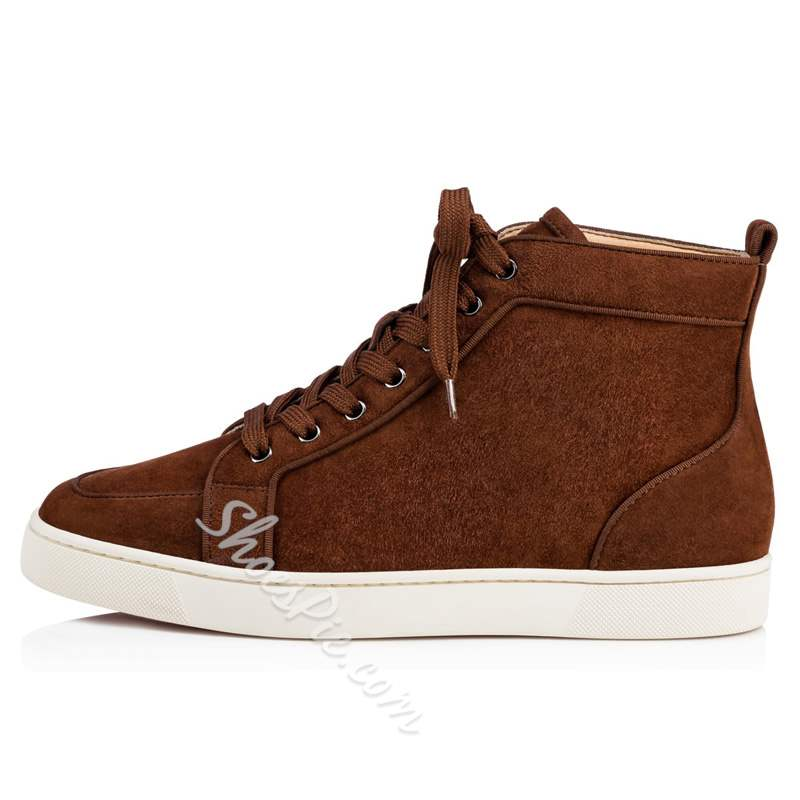Shoespie Coffee Suede Lace-Up High Upper Men's Sneakers