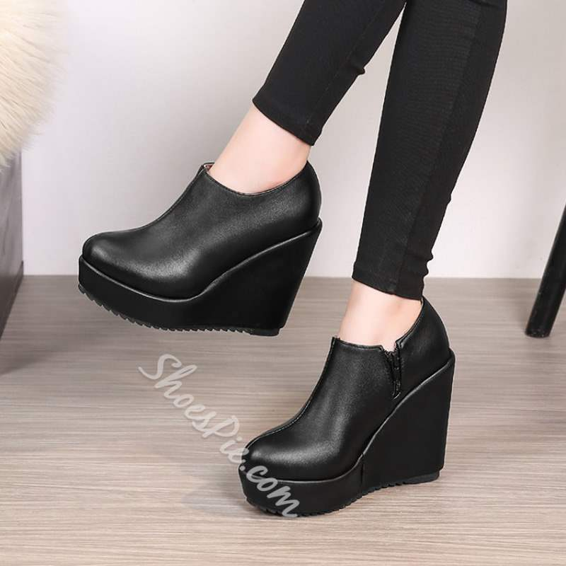Shoespie PU Platform Wedge Heel Side Zipper Ankle Boots