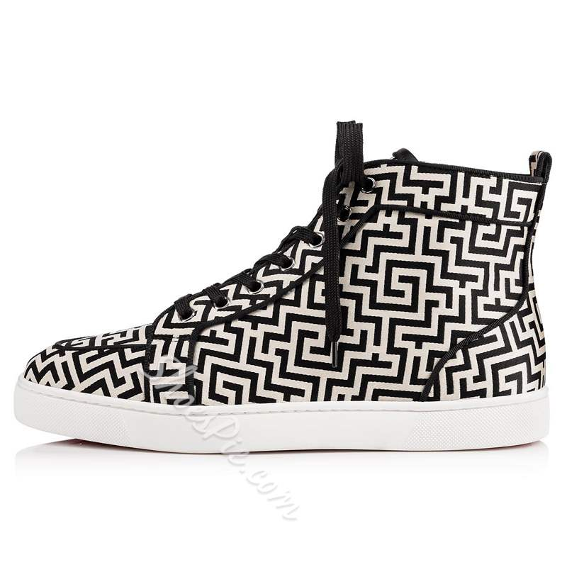 Shoespie Black Casual Lace-Up High Upper Men's Sneakers