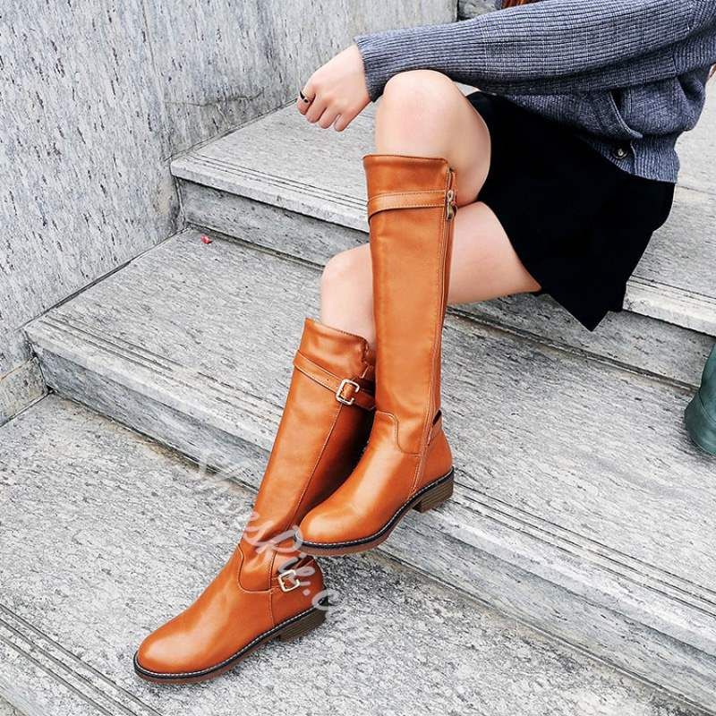 Shoespie Buckle Side Zipper Flat Knee High Boots