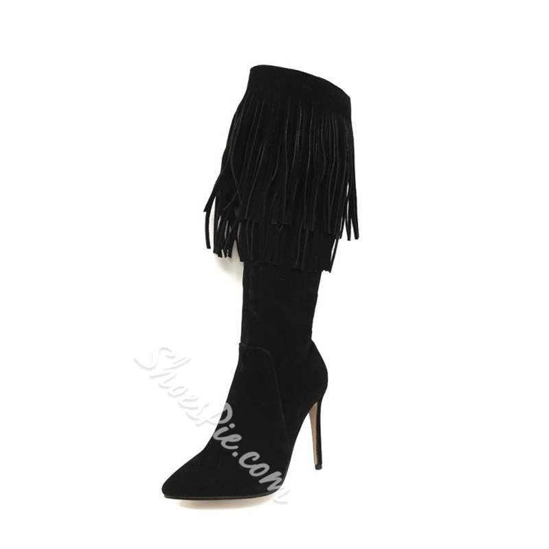 Shoespie Plain Fringe Stiletto Heel Knee High Boots