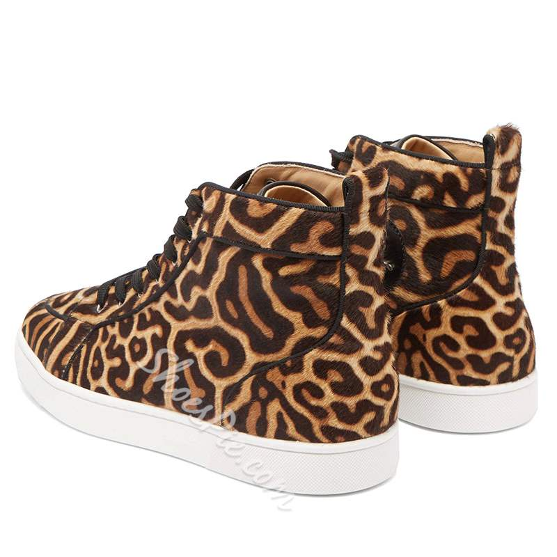 Shoespie PU Leopard High-Cut Men's Sneakers