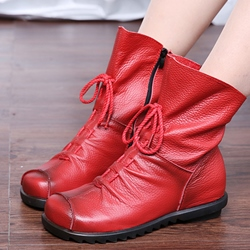 Shoespie Vintage Leather Lace Up Flat Ankle Boots