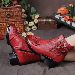 Shoespie Vintage Floral Leather Zipper Ankle Boots