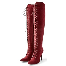 Shoespie Red Cross Strap Stiletto Heel Thigh High Boots