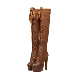 Shoespie Camel Platform Lace-Up Stiletto Heel Thigh High Boots