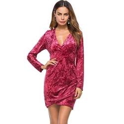 Long Sleeve Pullover V Neck Women's Bodycon Dress